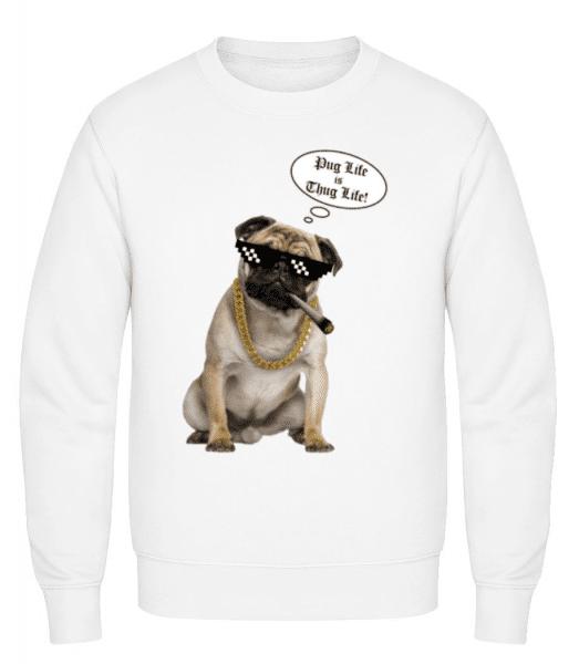 Pug Life Thug Life - Pánská mikina - Bílá - Napřed