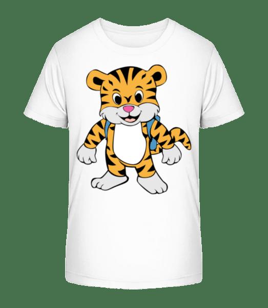 Cute Tiger With Bag - Kid's Premium Bio T-Shirt - White - Vorn