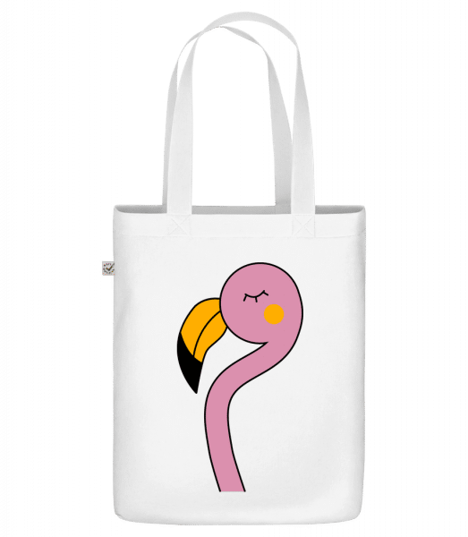 "Cute Flamingo - Organic ""Earth Positive"" tote bag - White - Front"