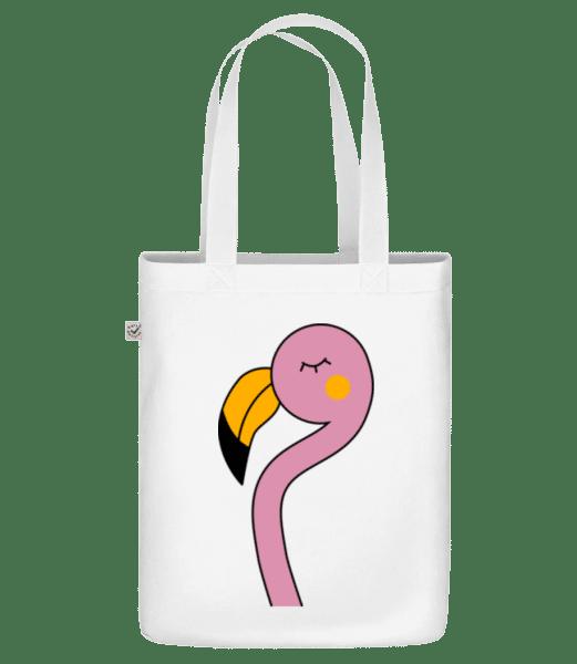 Putziger Flamingo - Bio Tasche - Weiß - Vorn