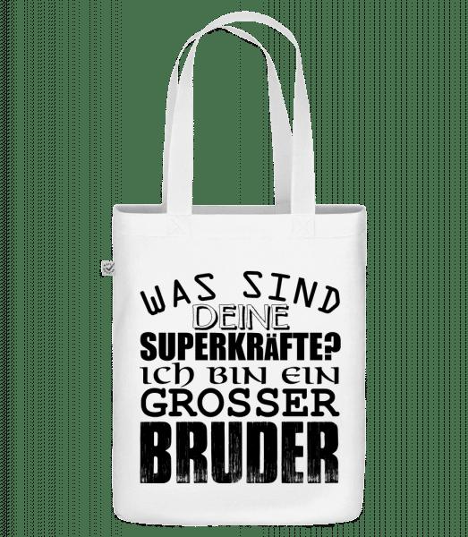 Superkräfte Grosser Bruder - Bio Tasche - Weiß - Vorn