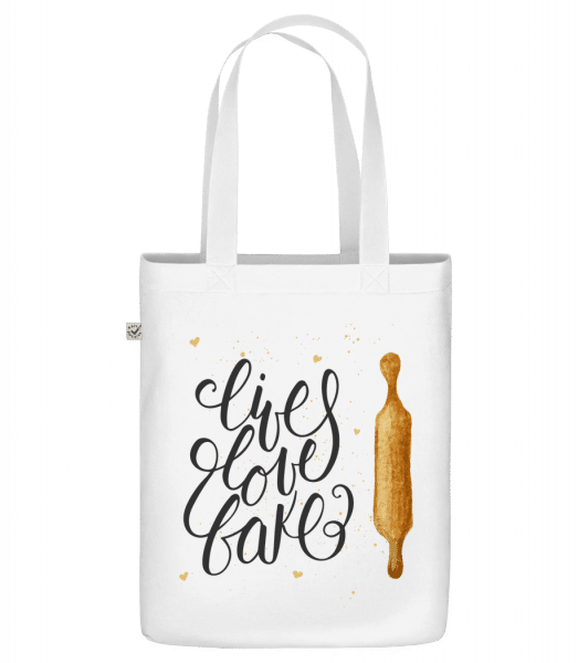 """Live Love Bake - Organic """"Earth Positive"""" tote bag - White - Front"""