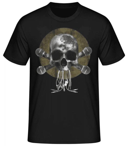 Skull With Microphones - Men's Basic T-Shirt - Black - Front