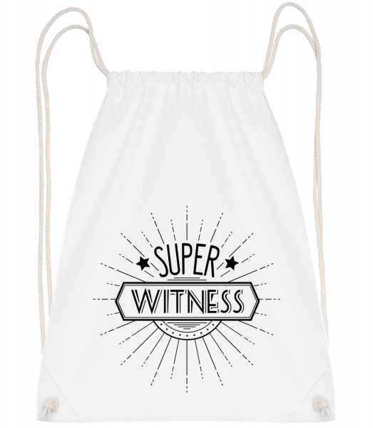 Super Witness - Drawstring Backpack - White - Vorn