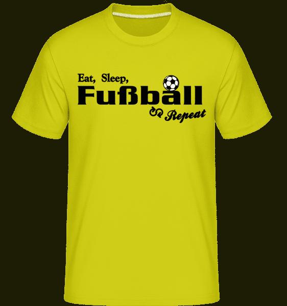 Eat, Sleep, Fußball & Repeat - Shirtinator Männer T-Shirt - Lime - Vorn