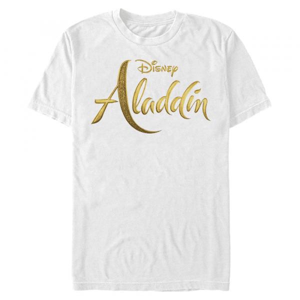 Aladdin Live Action Logo Text - Disney - Men's T-Shirt - White - Front