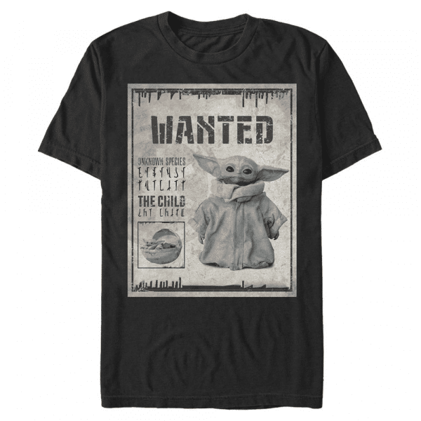 Wanted Child Poster The Child - Star Wars Mandalorian - Men's T-Shirt - Black - Front