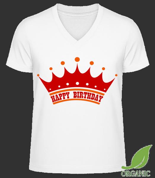 """Happy Birthday Crown - """"James"""" Organické tričko s V-výstrihom - Biela - Predné"""