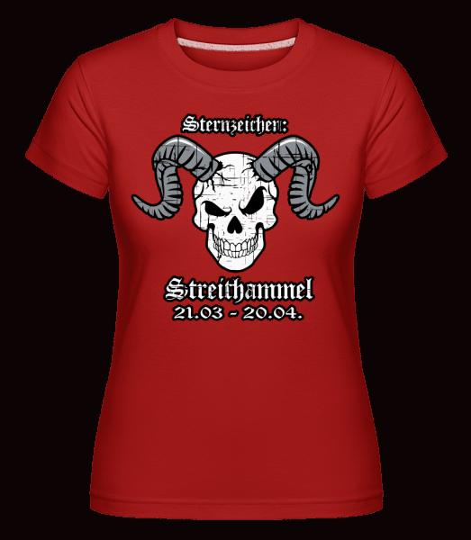 Metal Sternzeichen Strithammel - Shirtinator Frauen T-Shirt - Rot - Vorn