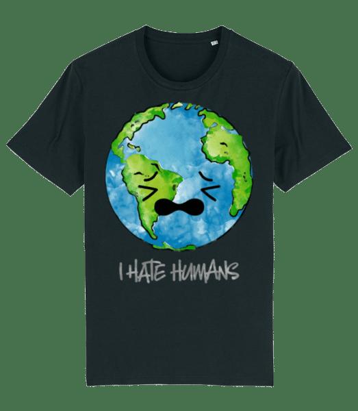 Earth Hates Humans - Männer Premium Bio T-Shirt Stanley Stella - Schwarz - Vorn