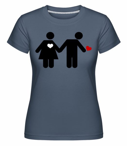 Woman And Man With Heart Logo -  Shirtinator Women's T-Shirt - Denim - Front