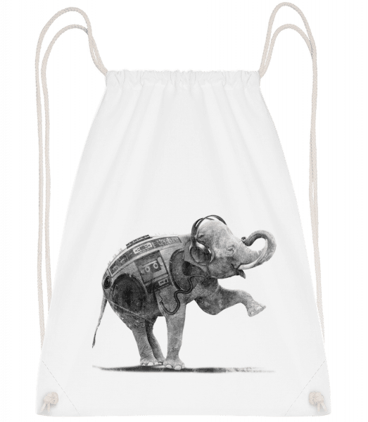 Ghettoblaster Elephant - Drawstring Backpack - White - Vorn
