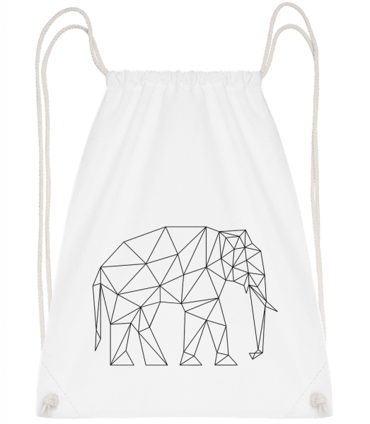 Polygon Elephant - Drawstring Backpack - White - Vorn