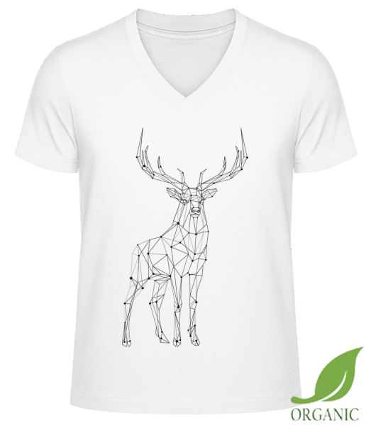 "Polygon Deer - ""James"" Organic V-Neck T-Shirt - White - Vorn"