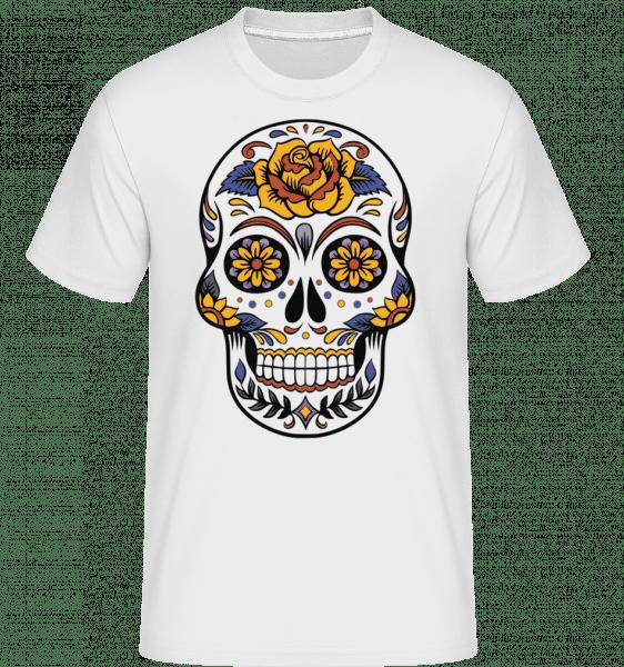 Dia De Los Muertos Skull -  Shirtinator Men's T-Shirt - White - Vorn