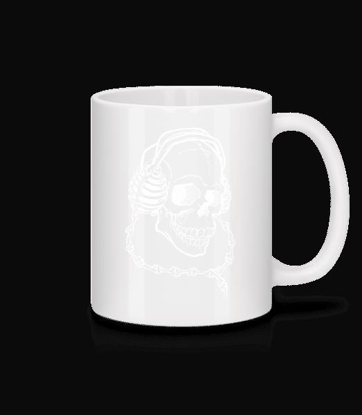 Skull With Headphones - Mug - White - Vorn