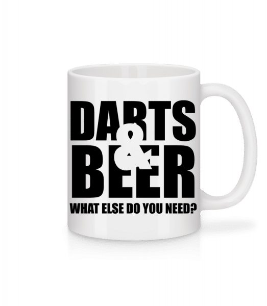 Darts And Beer - Mug - White - Vorn