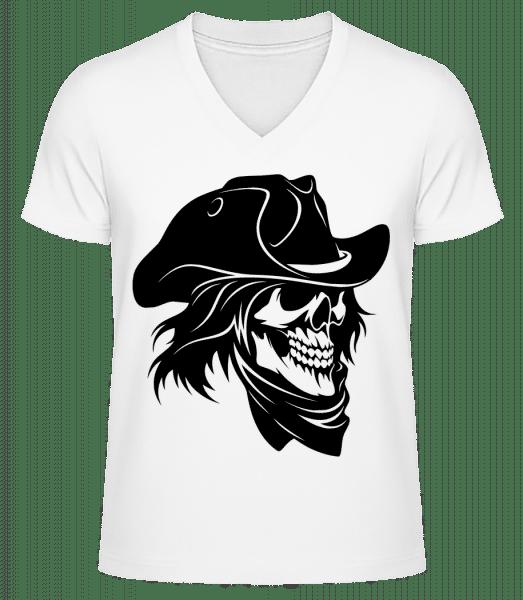 Pirate Skull - Men's V-Neck Organic T-Shirt - White - Front