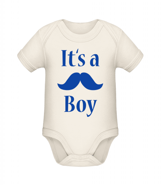 It's A Boy - Moustache - Organic Baby Body - Cream - Vorn