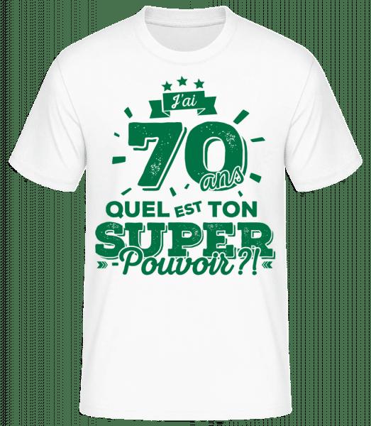 70 Ans Super Pouvoir - T-shirt standard Homme - Blanc - Vorn