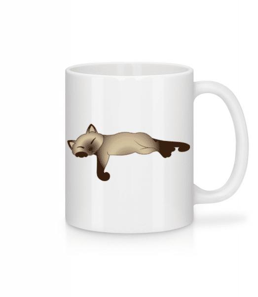 Spící kočka - Keramický hrnek - Bílá - Napřed
