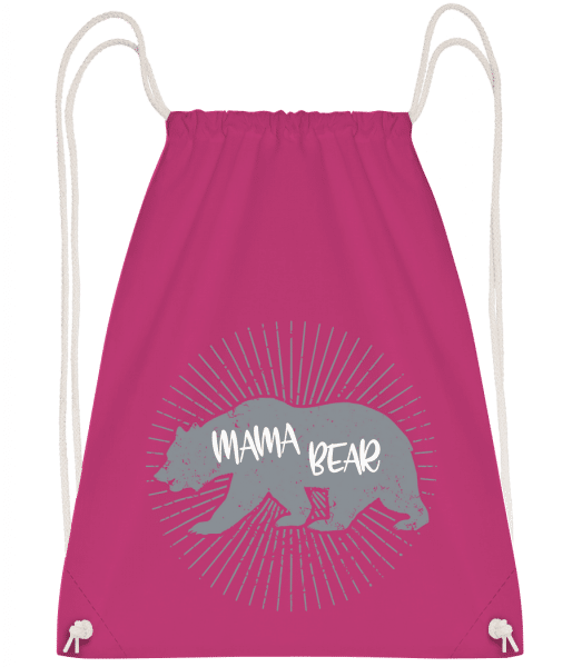 Mama Bear - Drawstring Backpack - Magenta - Vorn