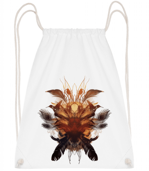 Feather Bird's Nest - Drawstring Backpack - White - Vorn