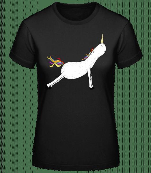 Stretched yoga unicorn - Basic T-Shirt - Black - Vorn