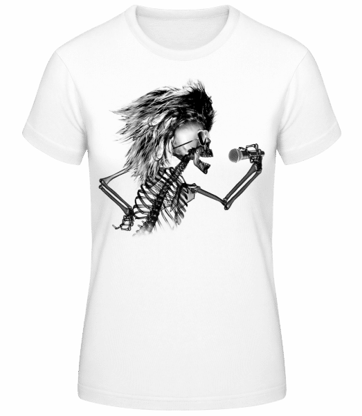 Singing Skeleton - Women's Basic T-Shirt - White - Vorn