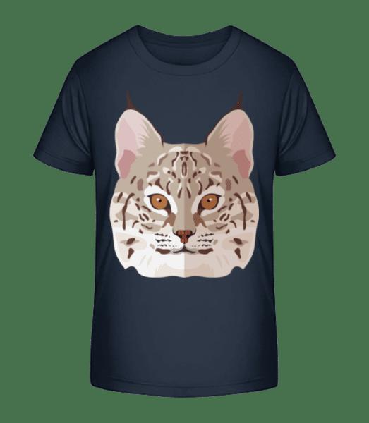 Wildkatze Comic Schatten - Kinder Premium Bio T-Shirt - Marine - Vorn