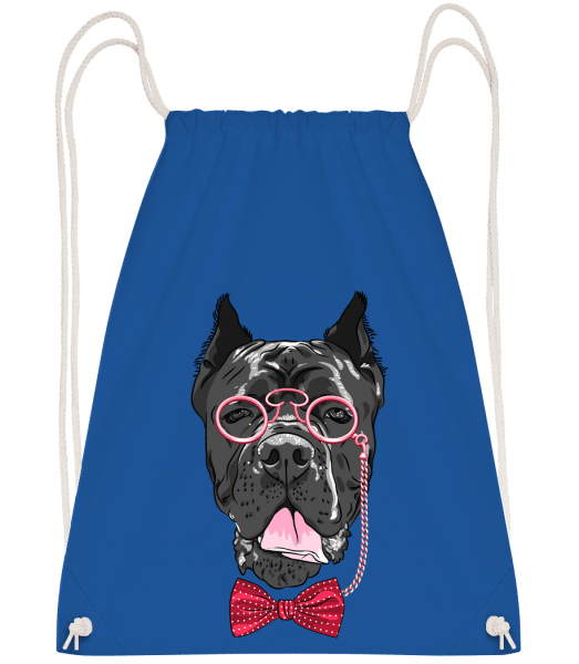 Dog With Glasses - Drawstring Backpack - Royal blue - Vorn