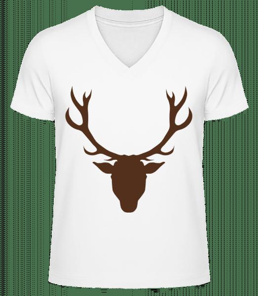 Deer - Brown - Men's V-Neck Organic T-Shirt - White - Vorn