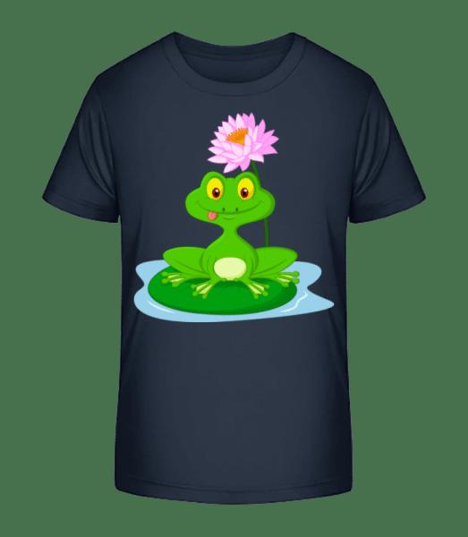 Grinsender Frosch - Kinder Premium Bio T-Shirt - Marine - Vorn