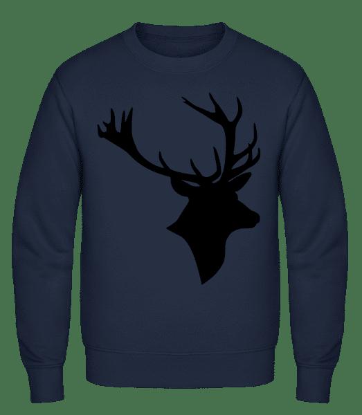 Deer Head Black - Classic Set-In Sweatshirt - Navy - Vorn