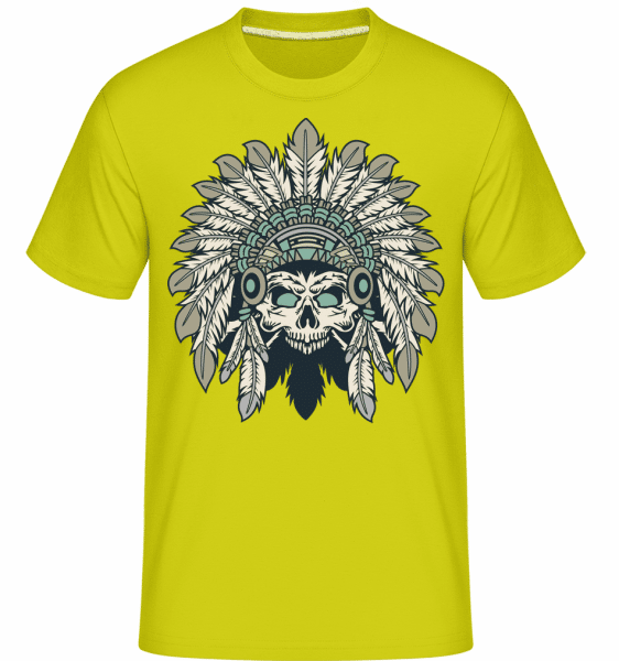 Indian Headdress Skull -  Shirtinator Men's T-Shirt - Lime - Front