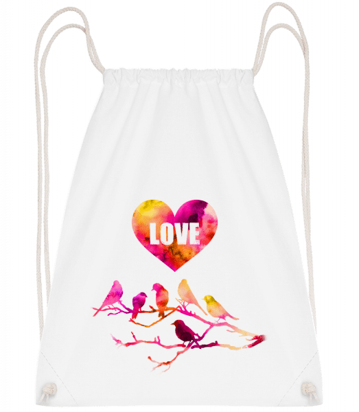 Birds Love - Sac à dos Drawstring - Blanc - Vorn