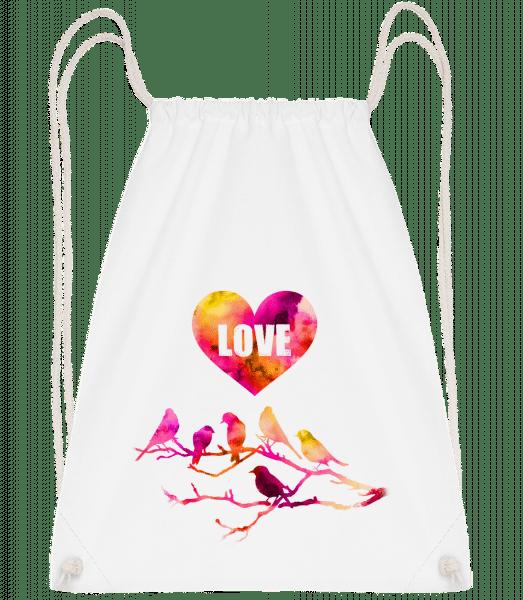 Birds Love - Drawstring Backpack - White - Vorn