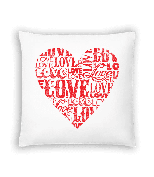 Love Heart Red - Cushion - White - Vorn
