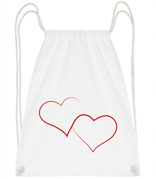 Two Hearts - Drawstring Backpack - White - Vorn