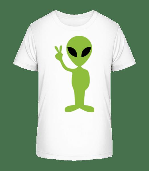 Alien Peace Sign - Kid's Premium Bio T-Shirt - White - Vorn