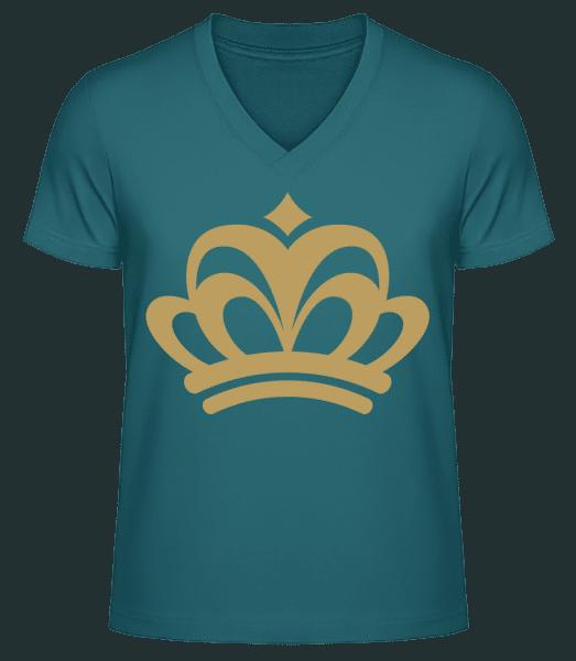Crown Sign - Men's V-Neck Organic T-Shirt - Petrol - Vorn