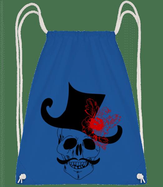 Skull With Hat - Drawstring Backpack - Royal blue - Vorn