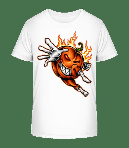 Burning Pumpkin - Kid's Premium Bio T-Shirt - White - Vorn