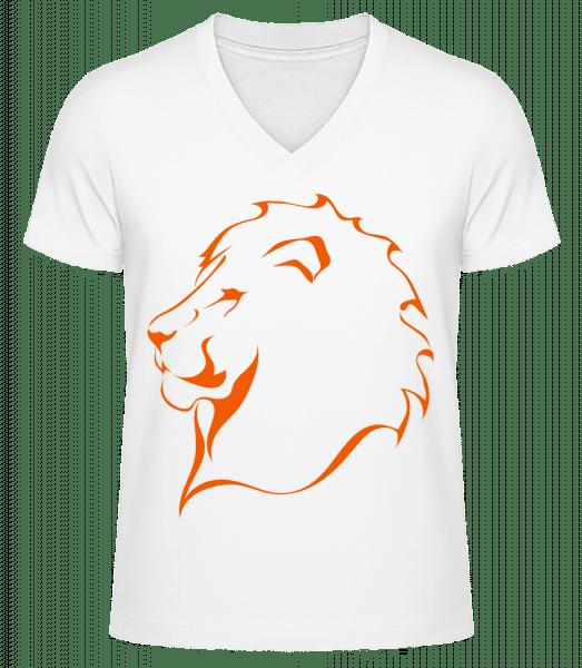Lion - Men's V-Neck Organic T-Shirt - White - Front
