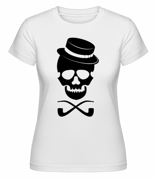 Skull With Hat -  Shirtinator Women's T-Shirt - White - Vorn