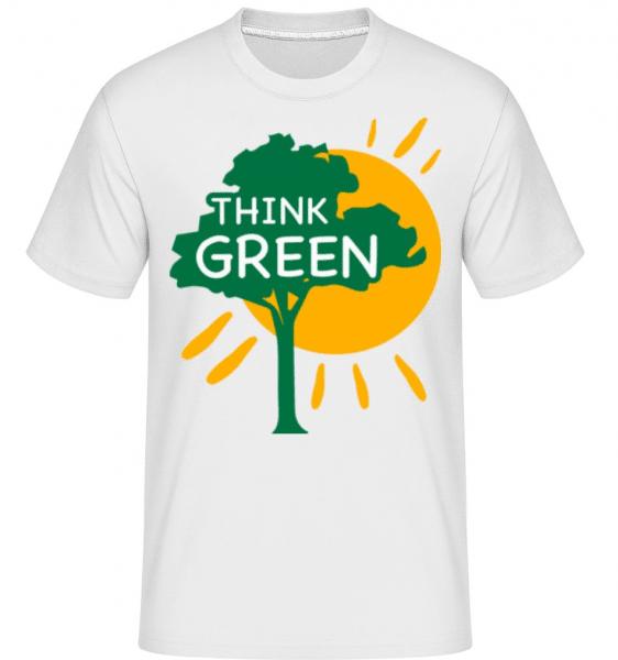 Mysli zeleně -  Shirtinator tričko pro pány - Bílá - Napřed