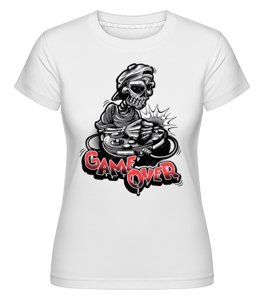 Game Over Skeleton -  Shirtinator Women's T-Shirt - White - Front