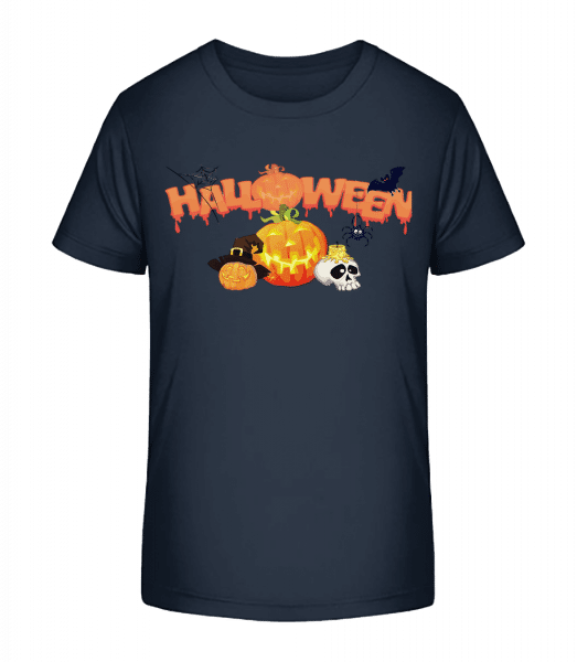 Halloween Pumpkin Rave - Kid's Premium Bio T-Shirt - Navy - Front