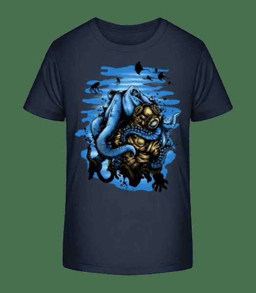 Diver And Octopus - Kid's Premium Bio T-Shirt - Navy - Vorn