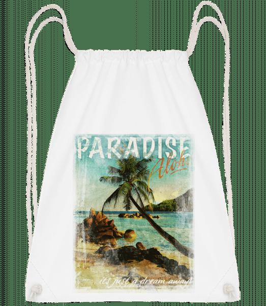Paradise Aloha - Drawstring Backpack - White - Vorn